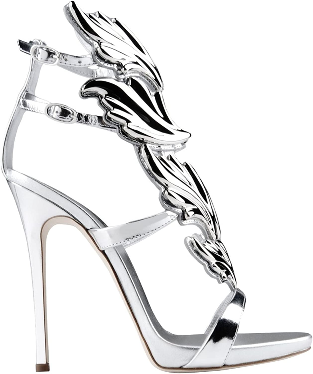 TDA Women's Fashion Wing Patent Leather Party Dress Stiletto Sandals