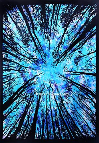 FUTURE HANDMADE Turquesa Bosque Árbol Gemelo Tie Dye Tapices Indio Hecho a mano Tapiz Decor de pared Hippie bohemio Tapices Casa Decoración Multi Color Tapi