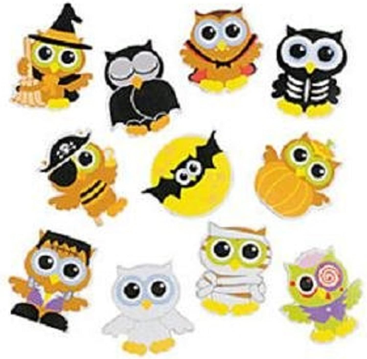 100  Halloween Owls Foam Stickers   Selfadhesive Shapes  Approx. 1.25  1.5   New