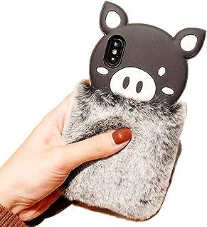 BONTOUJOUR iPhone XS Max Case, Super Cute 3D Piggy Pattern Serie Design Soft TPU Pig Case with Fur Body - Gray Fur Pig