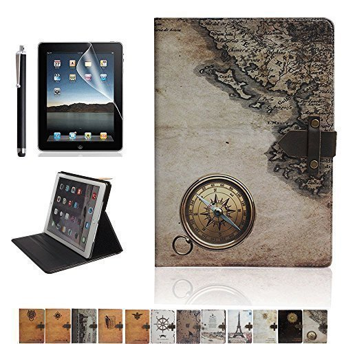 iPad Air 2 Case,DINGRICH Retro Compass PU leather Flip Case Cover with Smart Feature