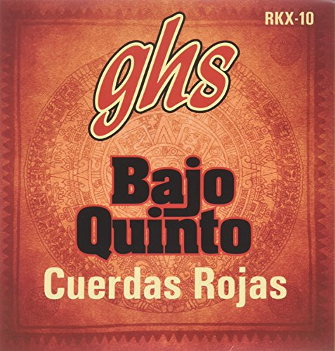 GHS Strings GHS RED COATED STAINLESS STEEL BAJO QUINTO Strings-Loop End-Cuerdas Rojas (RKX-10)