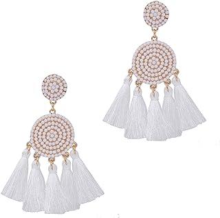 XOCARTIGE Beaded Tassel Earrings for Women Thread Fringe Drop Dangle Earrings Bohemia Statement Stud Earring for Girls