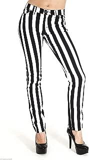 """Run & Fly Neu Damen Skinny Stretch Mid-rise Schwarz Und Weiß 1"""" Streifen Jeans Indie Retro"""