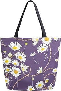 Mnsruu Mnsruu Handtasche aus Segeltuch, für Damen, mit Griff, Einkaufstasche, Goldene Ketten und Gänseblümchen, lässig, für Strand, Multifunktionstaschen für Damen