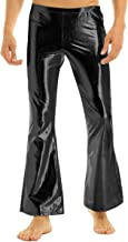 CHICTRY Men's Shiny Metallic Bell Bottom Flares Trousers 70s Vintage Long Pants