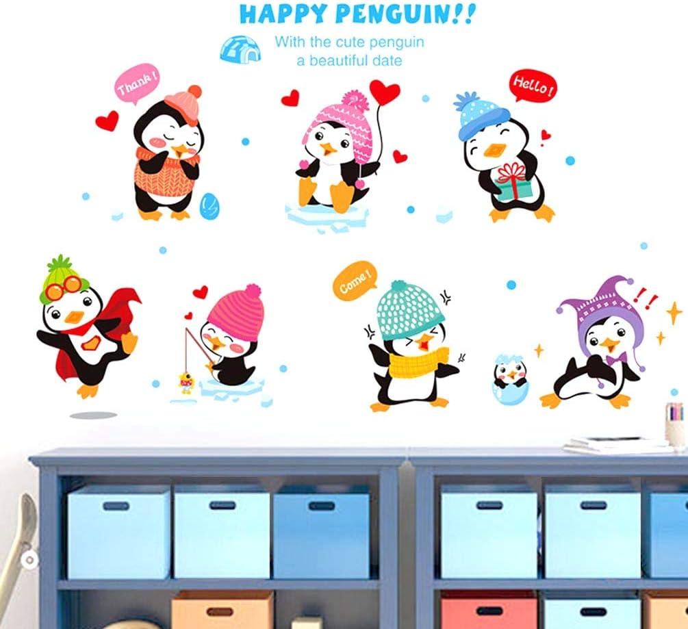 BIBITIME Kindergarten Classroom Nursery Cartoon Saying Quotes Happy Penguin Wall Decals Stickers Bedroom Kids Room Decor,DIY 38.18