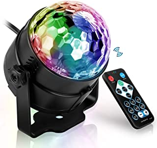 USDWRM Disco Lights USB Sound Activated Rotating Disco Ball Party Lights Strobe Light 3W RGB LED Stage Lights for Christma...
