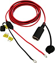 car Cigar Socket Extension Cord with Perforated Terminal with Fuse boxt Cigarette Lighter Power Adapter 10FT 16AWG Heavy Duty CableDirect Battery Type Supports 15A Current.for car tire inflators etc.