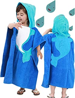 InsHere Hooded Poncho Towel for Kids, Organic Cotton Toddler Robes Wrap, Large Size 25