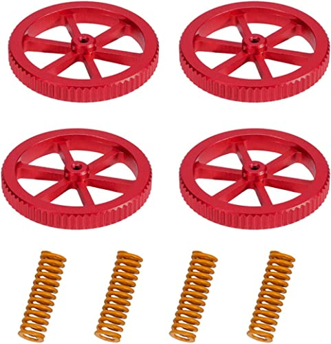 Upgraded 4PCS Creality Aluminum Hand Twist Leveling Nut with 4PCS Hot Bed Die Springs for Ender 3/3 Pro/3 V2, Ender 5...