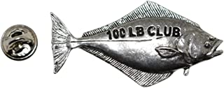 Halibut 100Lb Pewter Lapel Pin Fishing Trophy Jewelry P356