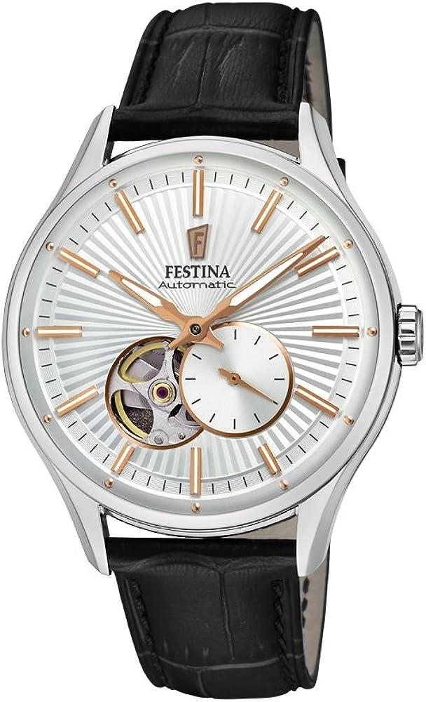 festina orologio automatico da uomo cassa in acciaio inossidabile e cinturino in vera pelle f16975/1