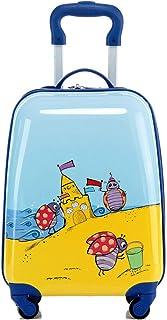 YCYHMYF 18 Inch Blue Cartoon Cute Kids Suitcase Luggage Trolley Case