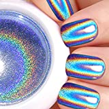 Holographic Nail Powder,LilyAngel Laser Nail Art Rainbow Glitter Chrome Powder Pigments Gradient Color With Dual-head Nail Sponge
