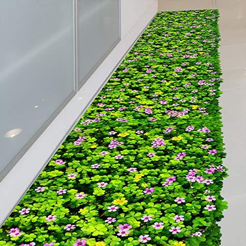 Plant Muursticker Groene Klaver Bloem Muurstickers DIY Gazon Sticker voor Huis Woonkamer Kids Slaapkamer Kwekerij Vloerdecoratie