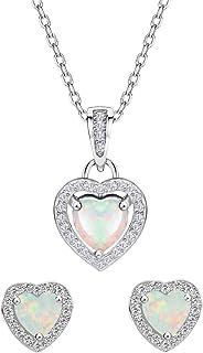 Mints Opal Jewelry Set Sterling Silver Heart Pendant Necklace Stud Earrings October Birthstone Gemstone Jewelry for Women