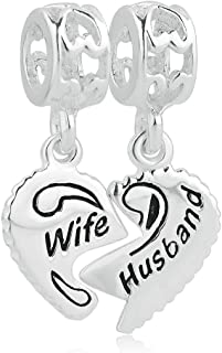 925 Sterling Silver Wife & Husband Charms Two Piece Love Family Dangle For Bracelets