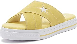 Converse One Star Womens Butter Yellow/White Suede Slip Sandals-UK 5 / EU 37.5