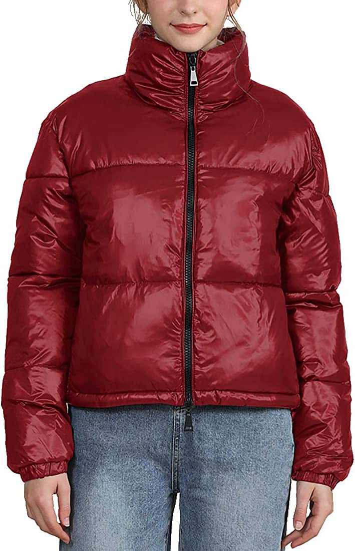 Inlefen Ladies Shiny Padded Jacket Winter Warm Women's Girls Cotton Coat