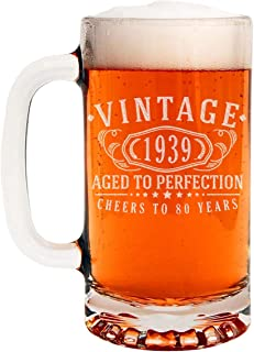 Vintage 1939 Etched 16oz Glass Beer Mug - 80th Birthday Aged to Perfection - 80 years old gifts