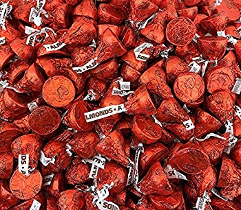 Sunny Island HERSHEY S KISSES Milk Chocolate Almond Red Foils Candy 2 Pounds Bag