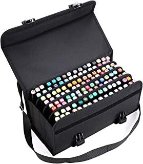 BTSKY New 120 Slots Marker Case Lipstick Organizer-Canvas Markers Holder for for Primascolor Markers and Copic Sketch Markers (Black)