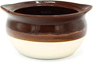 Large Porcelain 18 Ounce Onion Soup Bowls - Brown and Ivory Classic European Style - Set of 4 Crocks with Cork Coasters – Oven- Microwave- Dishwasher safe