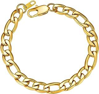 "ChainsPro Men/Women Sturdy Figaro/Cuban Chain Bracelet, 6/9/13mm Width, 7.48/8.26"" Length, 316L Stainless Steel/18K Gold T..."