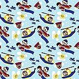Pingianer 11,99€/m 100x160cm Bär Flugzeug Blau 100%