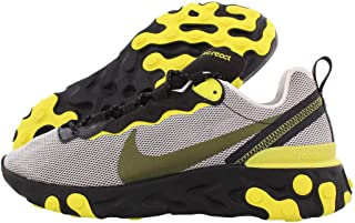 Mens React Element 55 Casual Shoes (10, Pure Platinum/Black/Dynamic Yellow)