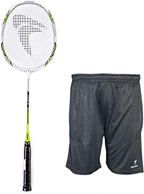 FLYPOWER Badminton Racket Agni 3 with NS Shorts Grey Size M
