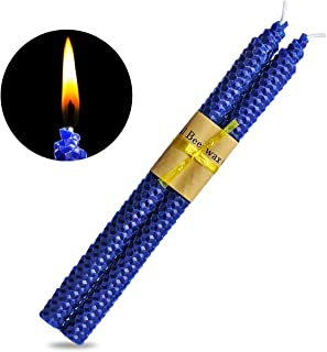 YIH 100% Pure Beeswax Handmade Taper Candles (Blue) - 10 Inch Smokeless Dripless Pair - Natural Subtle Honey Smell ?