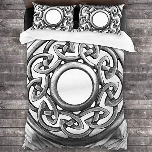 LISNIANY Funda De Edredón,Royal Style Circular Celtic Pattern Graphic Print Broche de Metal Diseño Scottish Shield,3 Pcs Ropa de Cama Funda Nórdica Sábana Bajera (220 * 240CM)