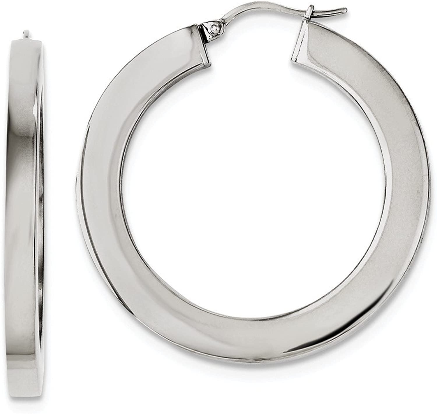 Beautiful Stainless Steel Polished Hollow 30mm Flat Hoop Earrings