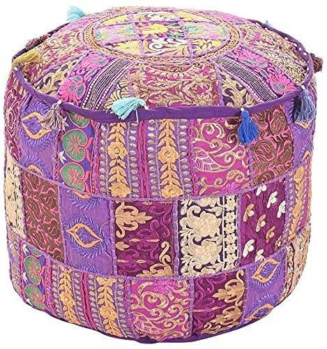 Aakriti Indian Pouf Footstool with Embroidery Pouf, Indian Cotton, Pouf, Ottoman Pouf Cover with Ethnic Decor Art - Cover (Purple, 56x35 CMS)