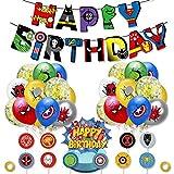 Decoracion Cumpleaños Superheroes Globos de Superheroes Globos de Látex Marvel Feliz Cumpleaños del Pancarta Superhéroes Cake Toppers Adornos de Pastel Superheroes