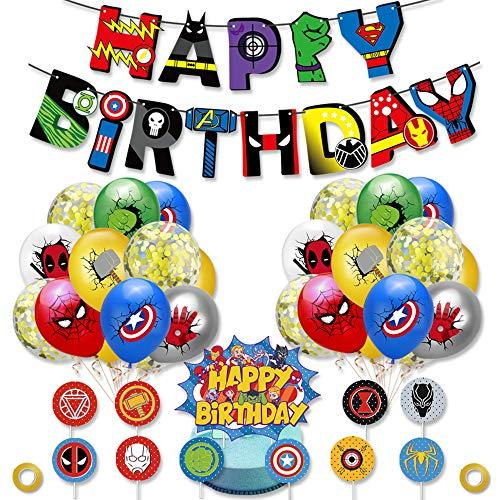 smileh Superhelden Deko Geburtstag Superhelden Luftballons Superheld Alles Gute Zum Geburtstag Banner Tortendeko Rächer Deko Avengers Party Decorations