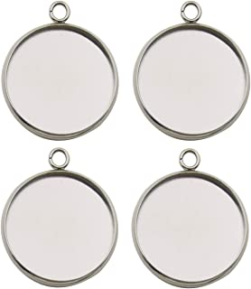 20pcs Fit 25mm Stainless Steel Round Blank Bezel Pendant Trays Base Cabochon Settings Trays Pendant Blanks for Jewelry Making DIY Findings