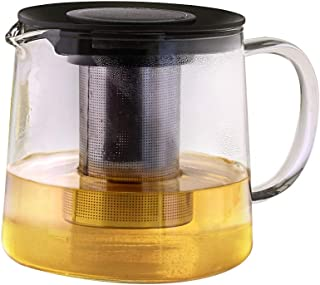 Borosil Carafe Flame Proof Glass Kettle with SS Infuser, 1L