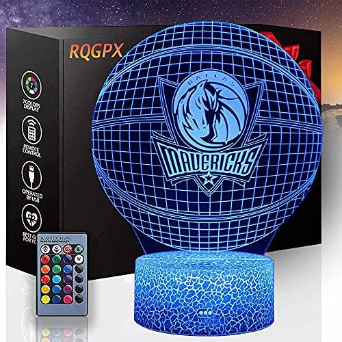 Luz de noche para niños -Equipo de Baloncesto- Lámpara de luz 3D con control remoto táctil 16 colores que cambian lámparas de escritorio regalos de cumpleaños para niñas y niños