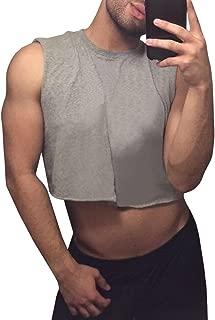 Mens Workout Cropped Tank Top Plain Vest Lightweight Basic Sleeveless Crop Tops Hot Shirts