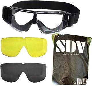 【SDV】サバゲーゴーグル 曇り止め 3色レンズセット X800タイプ クティカルゴーグル 迷彩 ケース レンズクリーナー 付