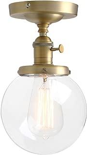 Pathson Industrial Brass Semi-Flush Mount Ceiling Light, Vintage Style Pendant Lighting, Glass Shade Hanging Light Fixtures for Laundry Room Living Room Cafe Bar