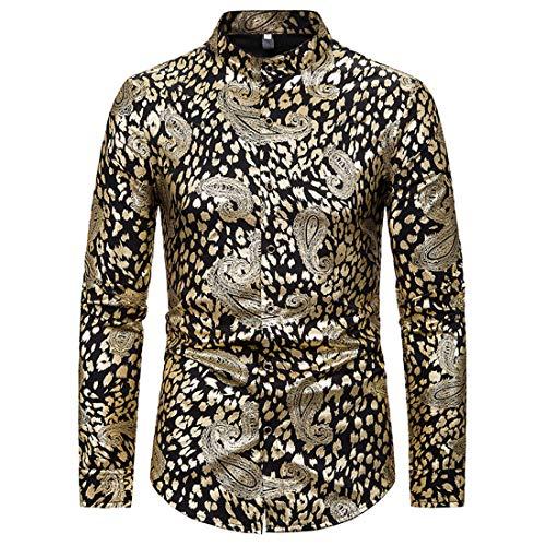 Men's Dress Shirts Slim Fit Long Sleeve Bamboo Casual Formal Shirt Button Down Work Shirts Men Men's Regular Fit Casual Oxford Shirt Long Sleeve Mandrin Collar Men's Bronzing Printed Shirt Collar