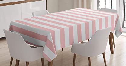 Lunarable Blush Tablecloth, Retro Style Pastel Colored Pink Stripes on White Background Vintage Geometric Design, Rectangular Table Cover for Dining Room Kitchen Decor, 60