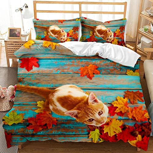 QIAOJIN Juego de ropa de cama 3D de gatos y perros, 100% microfibra, estampado de animales en 3D, bonita funda nórdica y funda de almohada con cremallera, para niños y niñas (K, 140 x 210)