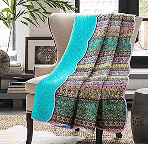 Vivilineneu Quilt Tagesdecke 100prozent Baumwolle Bettüberwurf Dünne Sommer Steppdecke Bettdecke (Blau, 150 x 200 cm)