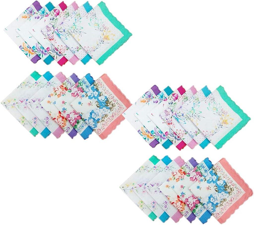 oshhni 24pcs Womens Vintage Floral Print Cotton Handkerchief Hanky Bulk Set