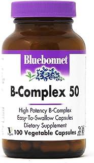 Bluebonnet Nutrition B Complex 50 Vegetable Capsules, Complete Full Spectrum, Vitamin B6, B12, Biotin, Folate, Vegan, Vege...